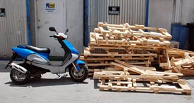 Discarded motorcycle pallets